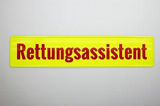 Rettungsassistent - Schild mit Folienbeschriftung