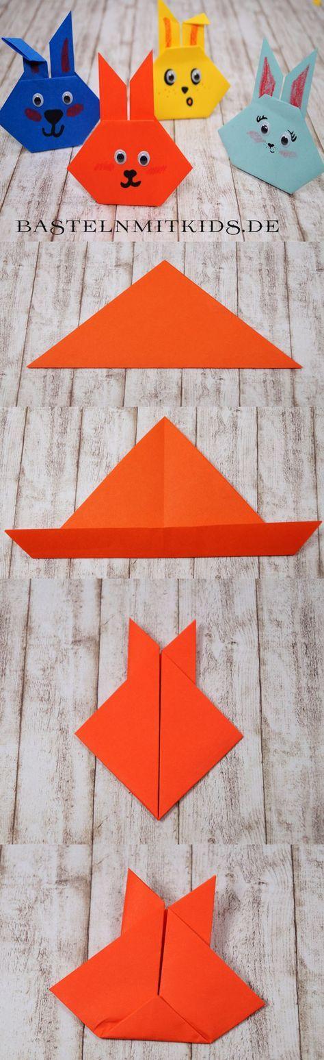 Origami für Anfänger. Leichte Osterhasen basteln. Für Kinder ab 2 Jahren zum Falten.