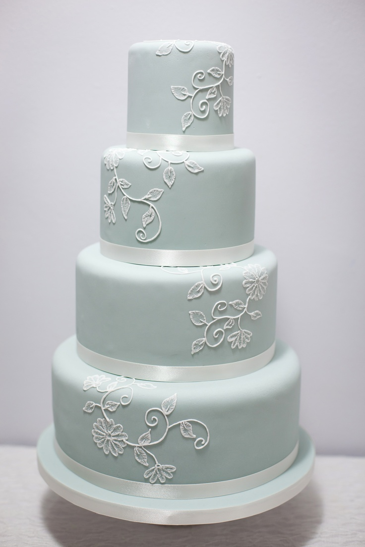 Vintage Inspired Blue Brush Embroidery Cake By S K Cakes www.s-k-cakes.co.uk