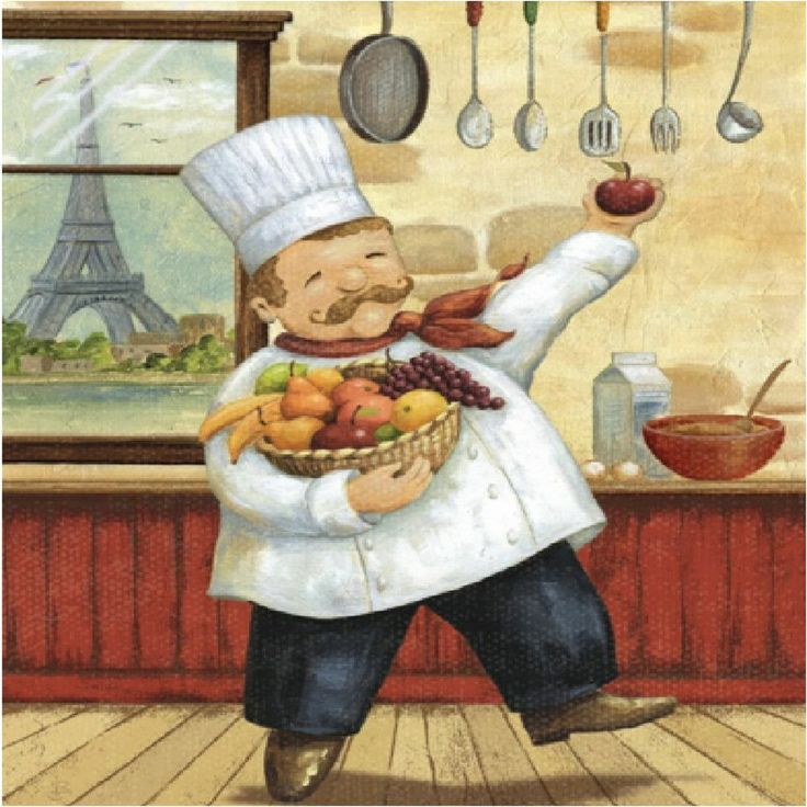 Happy Fat Paris Wine Dancing Chef Kitchen Decor Square Coaster Set Of 4