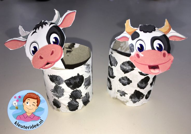 Stal met koeien knutselen, kleuteridee, Kindergarten stable with cows craft, with printable cows 6.