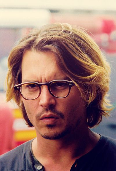 Johnny Depp #Eyeglasses  Okay now I really like these eyeglasses and I need new frames but they probably won't work for my face but that doesn't matter because I just like looking at Mr. Depp.  :)