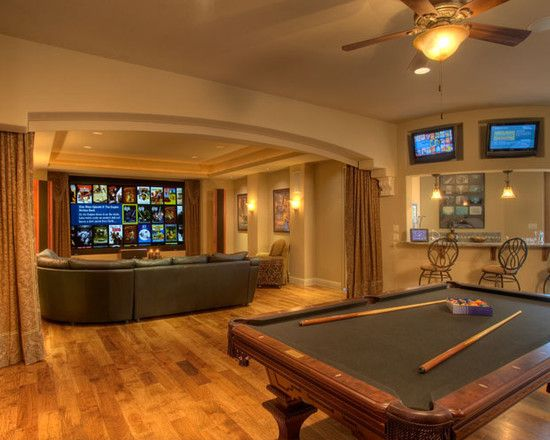 Media Room with Connected Billiards Room