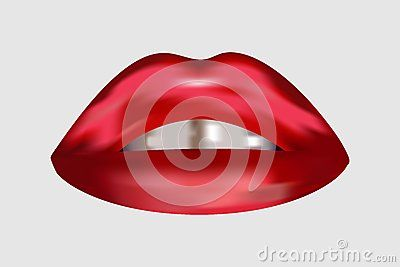 Isolated sexy and beautiful female lips with glittering teeth on light grey background.