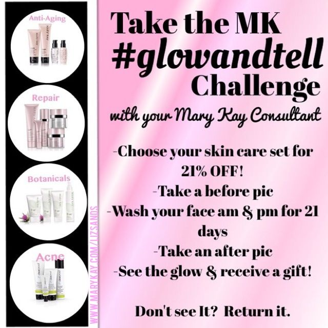 Who is going to be one of my 21 BRAVE #GlowAndTell participants? Try any of our Mary Kay skin care sets for 21 days (at 21% off!) and let me know what you think. It's that simple! You have nothing to lose. Except for acne/blemishes, fine lines, wrinkles, and so much more. Let the Glowing begin! http://marykay.com/cfowler7526