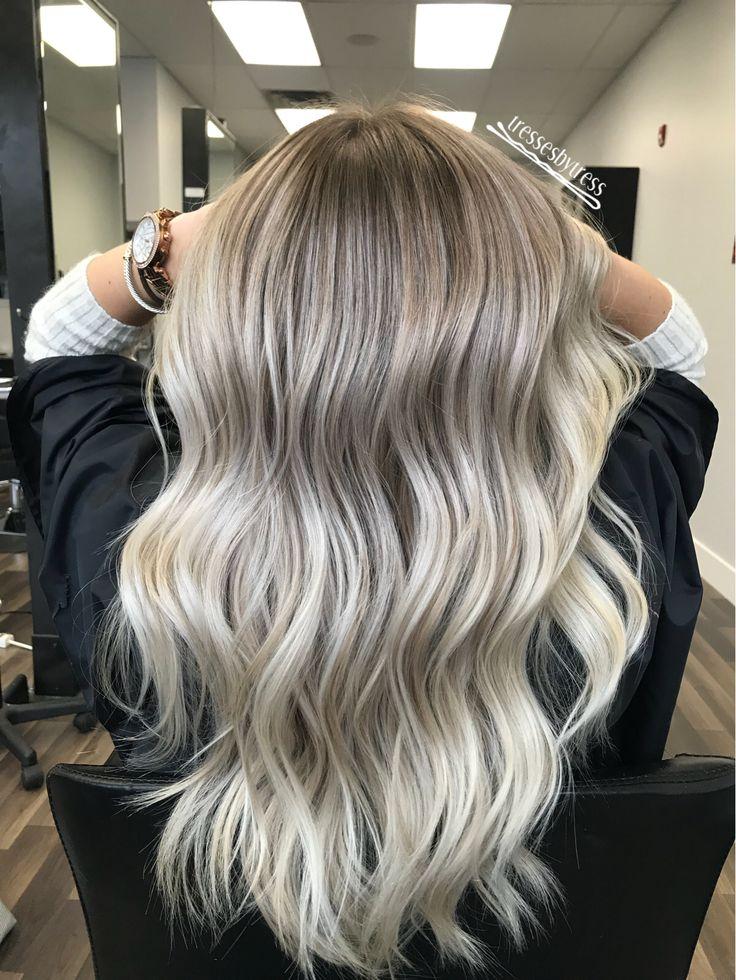 Platinum white blonde Balayage ombré
