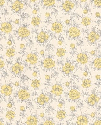 yellow wallpaper by graham and brown - cute 1950ies inspiration!