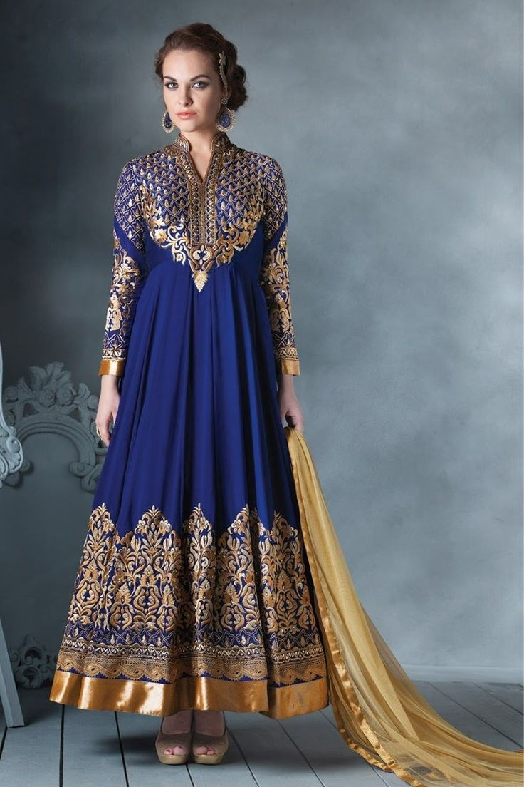 Blue Faux Georgette #Embroidered #Anarkali Suit With Net Dupatta #BlueInspiration @mokshafashions  Item Code : MFB02291  Price : $ 108.55  http://mokshafashions.com/blue-faux-georgette-embroidered-anarkali-suit-with-net-dupatta.html