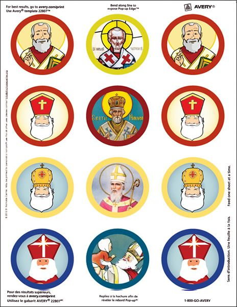 Saint Nicholas sticker sheet for coins or otherwise