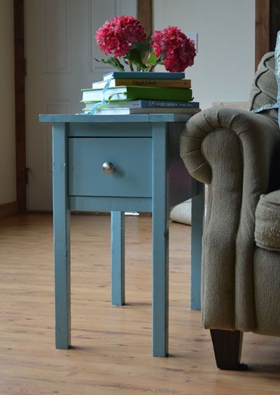 Found at DIY Furniture Plan from Ana-White.com  Free and easy DIY plans to build cottage style end tables. Featuring a narrow design, perfect for fitting in tight spaces, with one large room drawer. This step by step project plan can be made by beginning woodworkers.