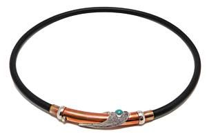 "Yanvan 16"" Genuine Black Rubber Necklace with Turquoise"