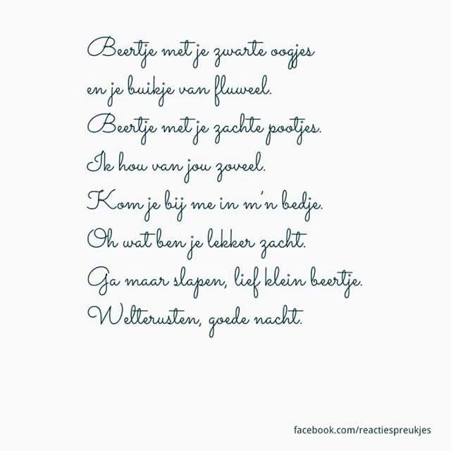 Ongekend Lief Gedichtje Slapen Gaan   stefiravenjessica site BI-62