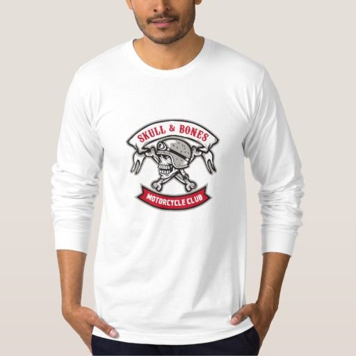 Skull Bones Bike Helmet Ribbon Retro Shirt. Illustration of a skull looking to the side wearing bike helmet with bones at the back and the words Skull & Bones Motorcycle Club inside ribbon set on isolated white background done in retro style. #Illustration #SkullBonesBikeHelmet