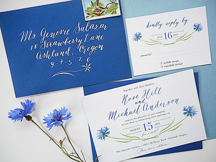 Calligraphy wedding invitations by The Elegant Quill. Watercolor blue cornflowers. Custom designed wedding invitations. Sonoma County, California.