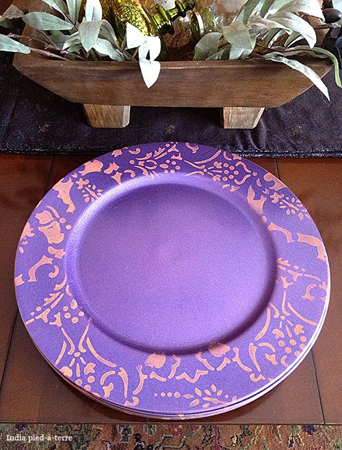 DIY Stenciled Plate Chargers   Persian Lace Border Stencil