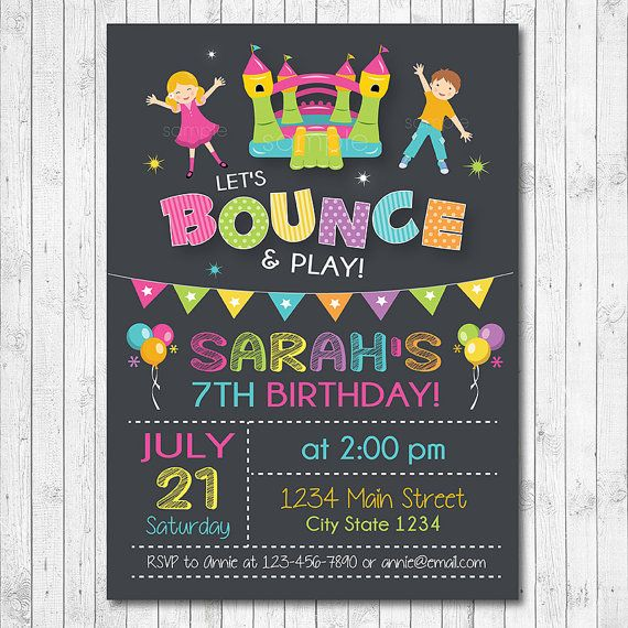 Bounce House Birthday Invitation Jump Invite by funkymushrooms