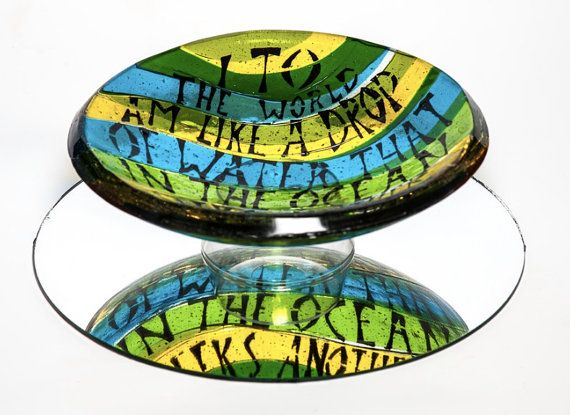 I to the world... Valentines' fused glass bowl by AndyBullGlassArt