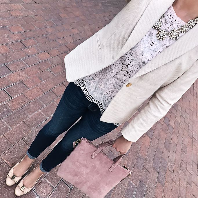 newbury blazer, Ferragamo Vara pumps, Mini Transport Suede Crossbody Bag, scallop lace bell sleeve top, business casual outfit, spring outfit, petite fashion blog - click the photo for outfit details!