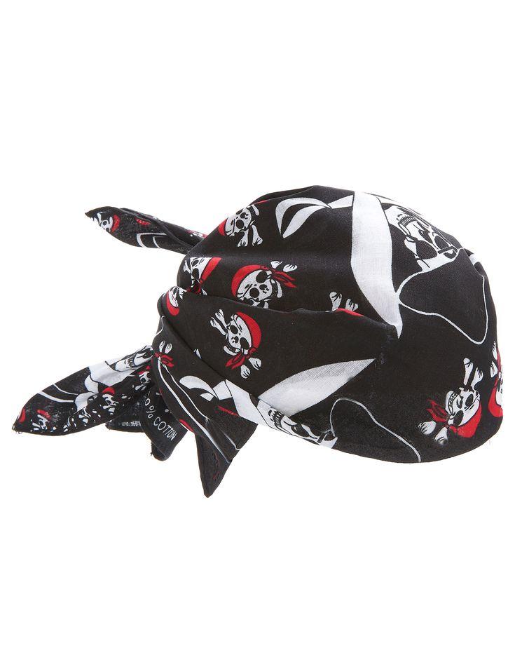 Bandana pirata: Esta bandana pirata tiene dibujos de calavera piratas con bandanas rojas. Las medidas son 54x54 cm y se ajusta a tus necesidades.Completa con esta bandana un disfraz de pirata o rockero para darle un...