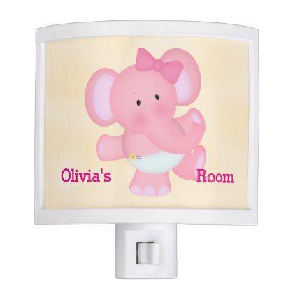 #Kid's Night Lite Cute Baby Pink Elephant - #cute #pink #sweet #custom