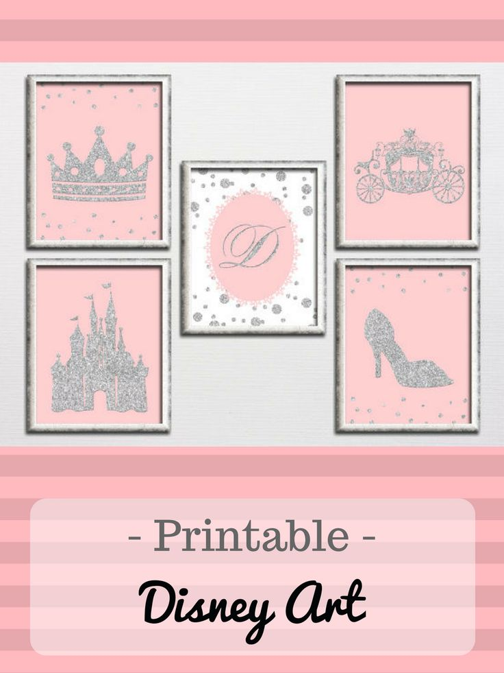 Printable set pink and silver glitter girl nursery princess room or playroom wall art with monogram, castle Disney inspired decor download #ad #disney #cinderella