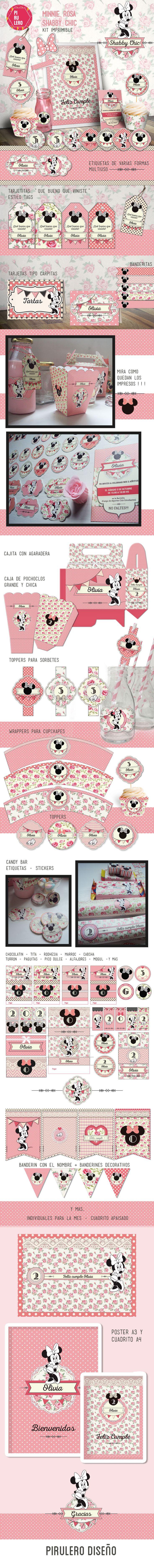 Kit imprimible Minnie Shabby Chic Rosa #kitimprimible #shabbychic #shabby #minnie