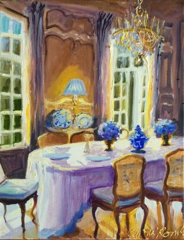 FRENCH DINING ROOM Original Art Painting By CECILIA ROSSLEE