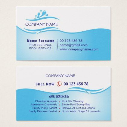 Pool service business card - professional gifts custom personal diy