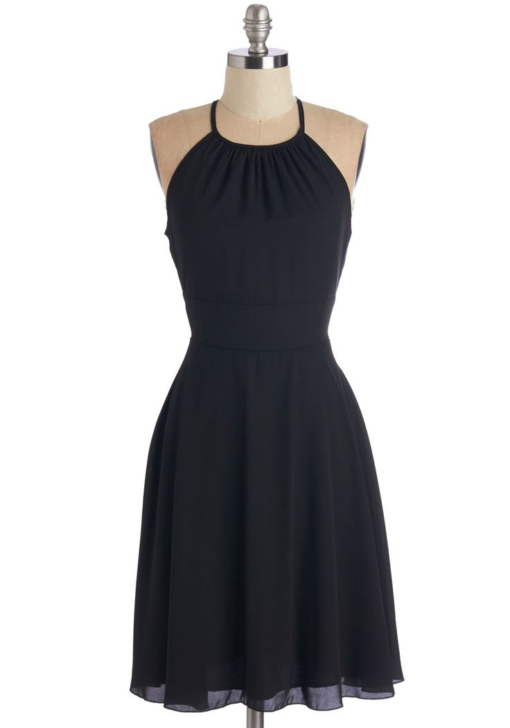 Find the Fun Dress. In this little black dress, youre ready to flutter wherever the evening takes you! #black #modcloth