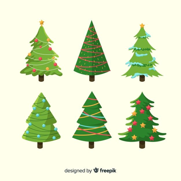 Download Flat Design Christmas Tree Collection For Free Christmas Tree Collection Vector Free Xmas Deco