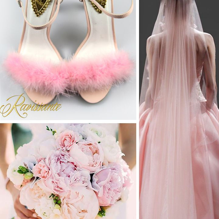 Want a wedding sweet like you? Choose some lovely pink fur sandals and a delicious bouquet