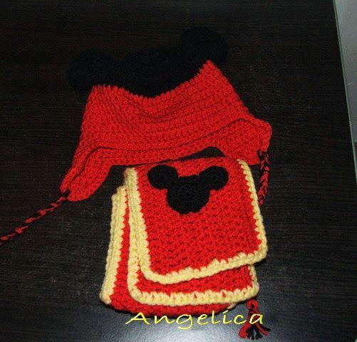 Angelica lucreaza: Caciula si fular crosetate Mickey mouse