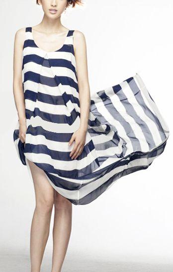 Navy and White Stripes. #Stripes #Sleeveless #Chiffon #Maxi_Dress #Fashion