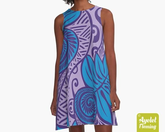 Polynesian skirt Shades of blue floral ulu flared midi skirt XS-5XL Hawaiian skirt ulu