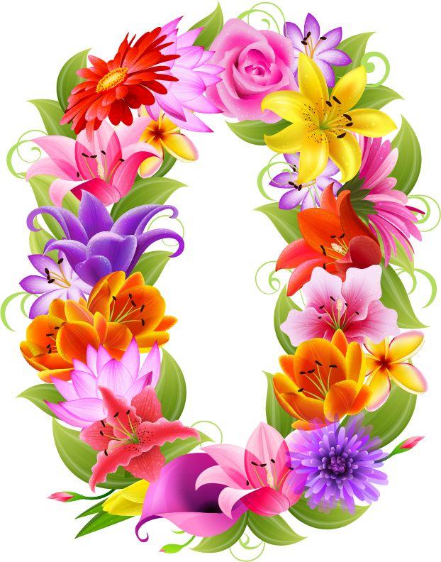 Букет цветов, красивые цифры в картинках для оформления