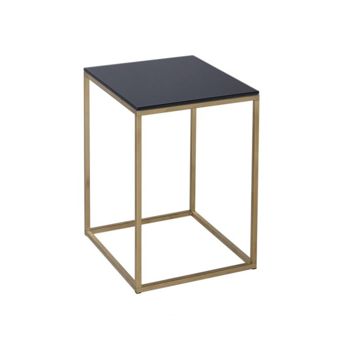 Gillmore Space Black Glass And Gold Metal Contemporary Square Side Table