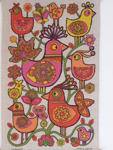 Birds Tea Towel by polly q, via Flickr