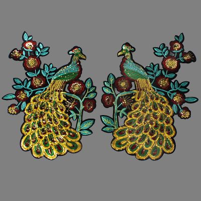 One pair peacock sequins applique embroidery patch DIY Accessories applique vintage patches for clothes parches para la ropa #Affiliate