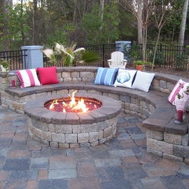 Patio unilock stone curved seat wall Design Ideas, Pictures, Remodel and Decor