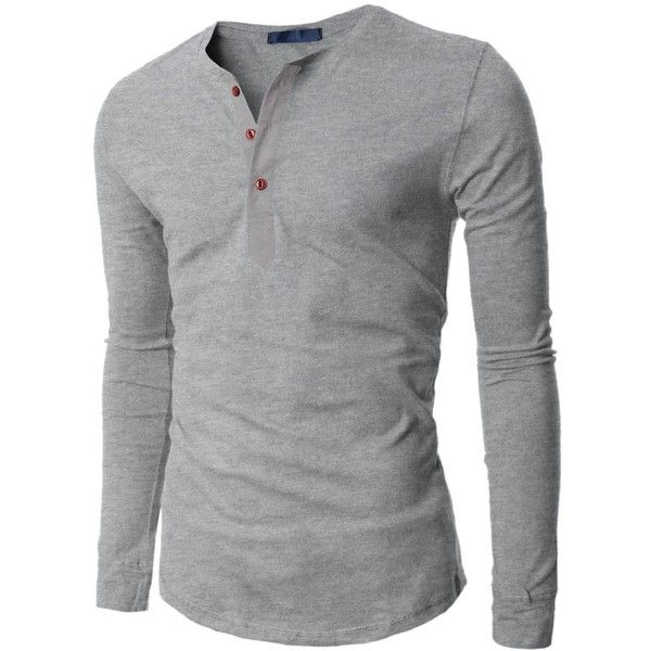 Doublju Mens Long Sleeve Slim Fit Henley Shirts ($17) ❤ liked on Polyvore featuring mens, men's clothing, men's shirts, men's casual shirts, men, tops, long sleeves, blusas de frio masculina and chris. &lt3