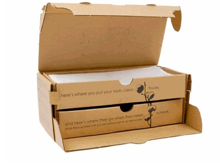 Коробка дляупаковки носовых платков отBetter For GrownUps. Better For GrownUps предлагает вместо бумажных одноразовых платков использовать сатиновые хлопчатобумажные платки, традиционные имягкие. Эти платки многоразовые.  Дизайн иконструкция упаковки дляплатков внешне повторяет привычные коробки содноразовыми платками. Платки также вынимаются изкоробки через расположенное поцентру крышки отверстие, ноупаковка имеет одну хитрость: внутри коробки находятся еще две коробки, одна…
