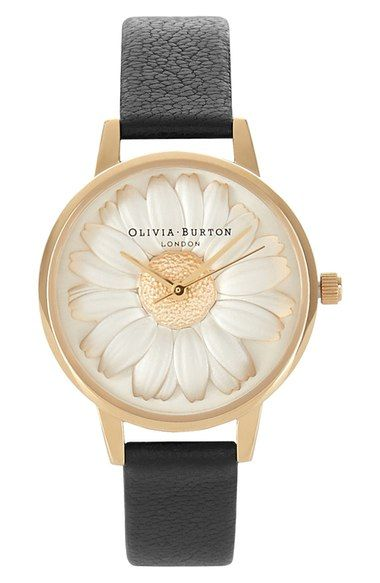 Olivia Burton 'Flower Show' Leather Strap Watch, 30mm available at #Nordstrom
