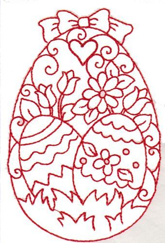 Image detail for -Redwork Easter Egg embroidery design:
