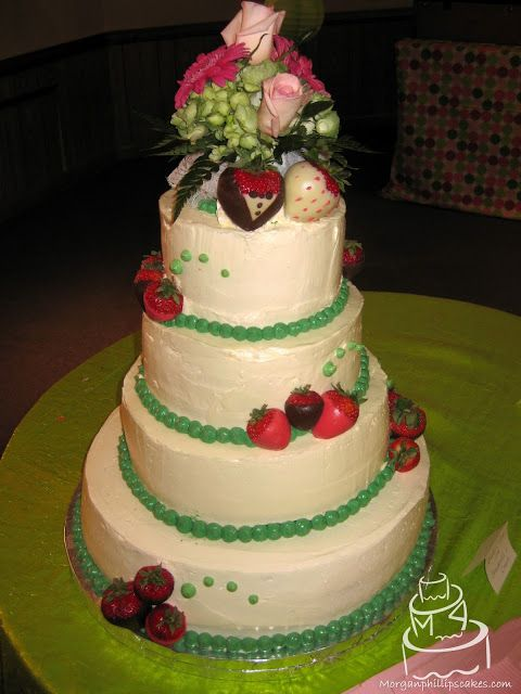 Strawberries n' cream wedding cake