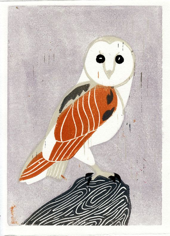 Barn Owl bird hand-pulled linocut art illustration block print, mustard, lavender, lilac, grey, gray, nature, wall decor