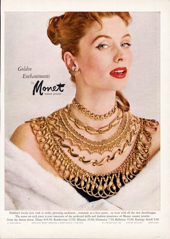 Suzy Parker / Monet Costume Jewelry Ad / 1956