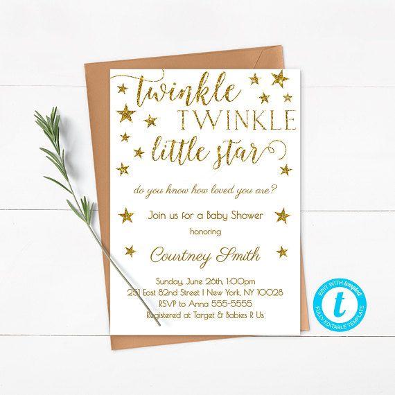 Le Little Star Baby Shower Invitation Template Editable Gold Glitter Gender Neutral Instant Sg1