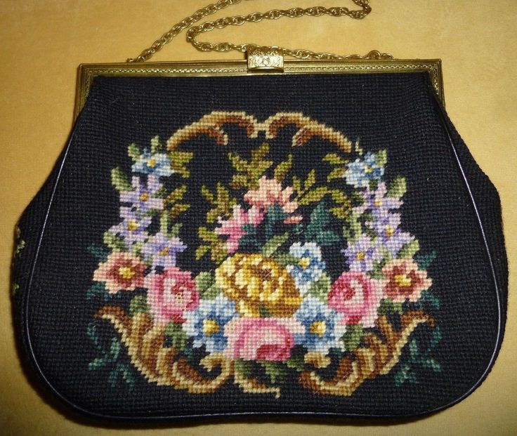 Vintage Large Floral Petite Tapestry Needlepoint Purse Handbag Stitched Comb | eBay