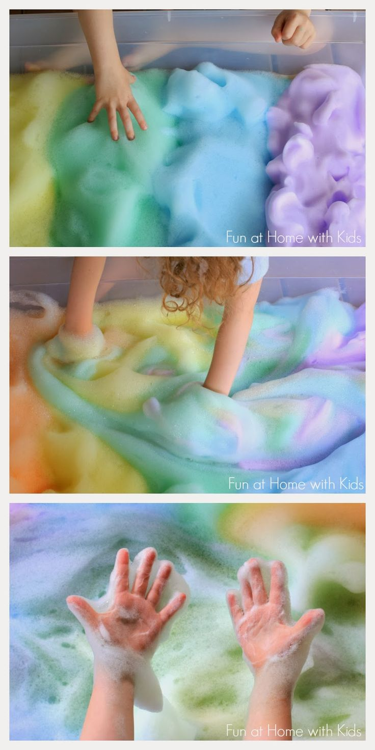Rainbow Soap Foam Bubbles Sensory Play from Fun at Home with Kids