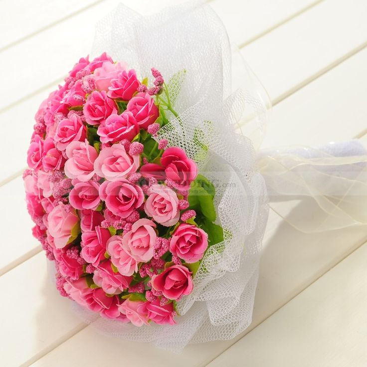 Fuchsie und Rosa eingewickelte Rose Hochzeit Brautstrauß